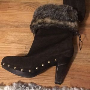 Michael by Michael Kors brown suede fur lined boot